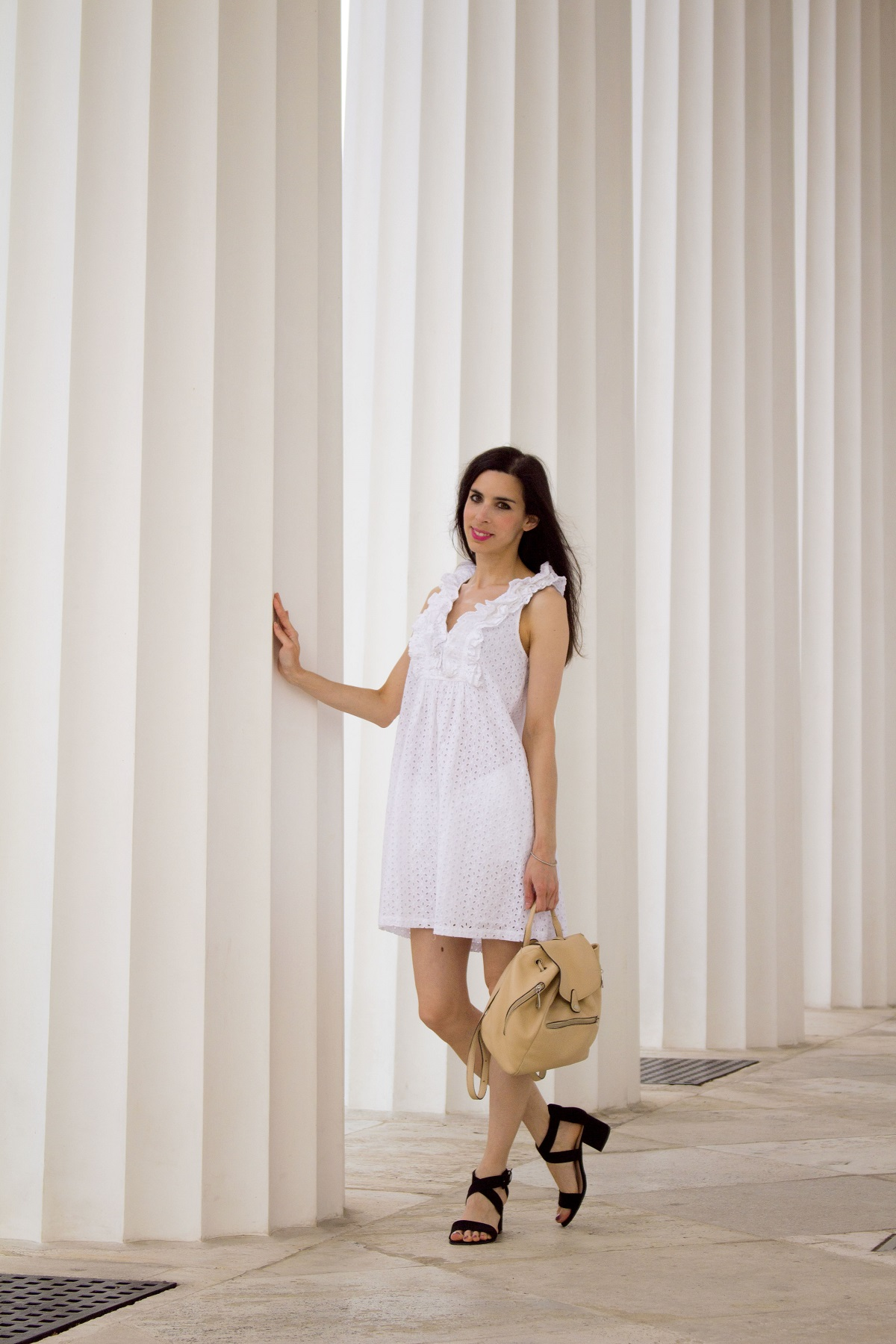 Eyelet-ruffles-white dress