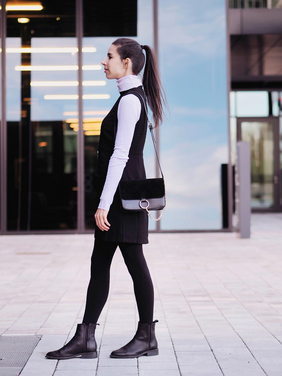 Black dress in summer - I M Wearing Forever21 Black Dress Mango Turtleneck Mango Shoes Calzedonia Tights Sammydress Bag