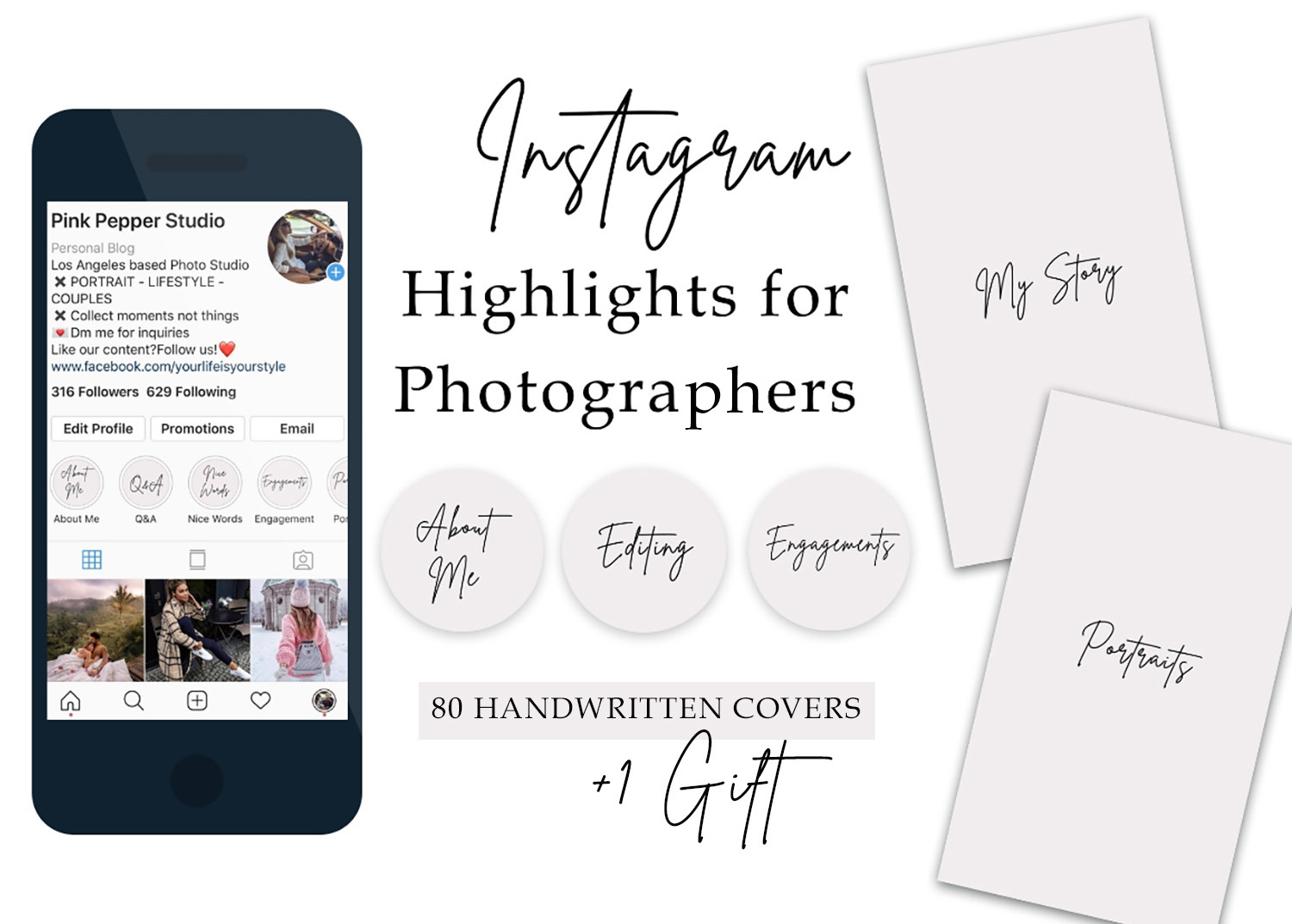 Instagram Story Highlight for photograhpers minimalist