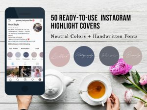 50 ready-to-use Instagram Higlight Covers with handwritten fonts